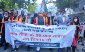 Delhi Jal Board Scam protest- BJP Delhi law insider