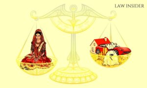 A bride on a scale, being mmeasured opposite materialistic things, asked for dowry