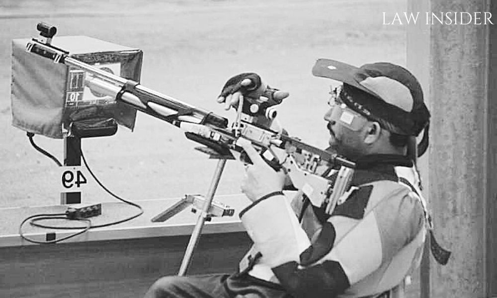 Naresh Kumar Sharma, India's Number 1 shooter, during one of his game, in his uniform and with head gear on